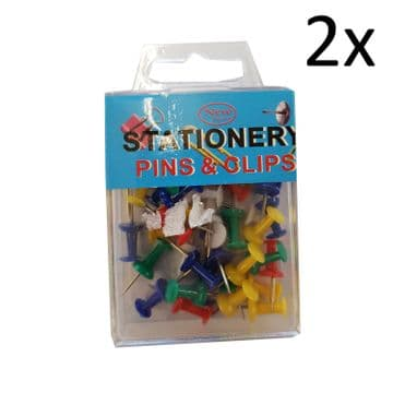 2 packs x STATIONERY PUSH PINS and CLIPS office board home school